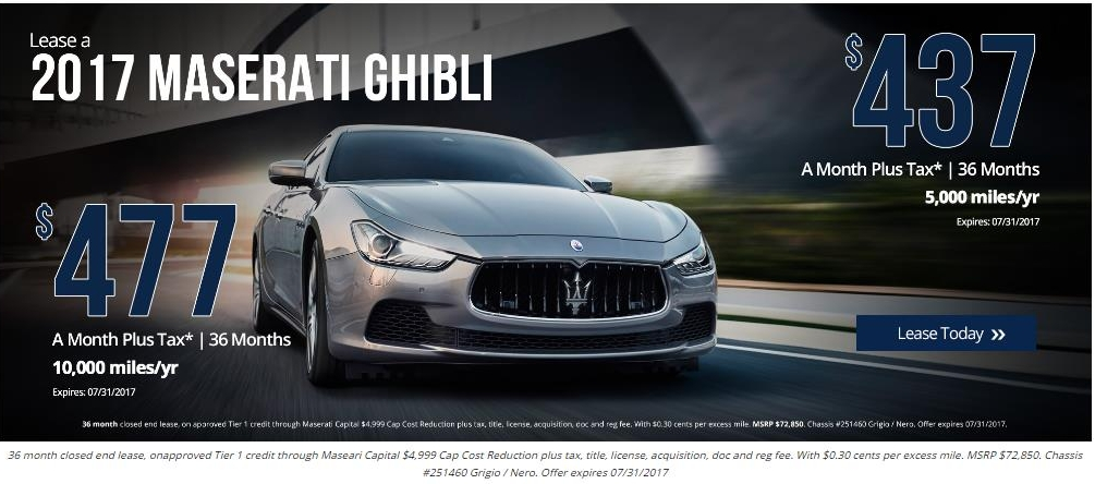 LeaseRank.com - Lease offers for 2017 Ghibli from 91203 US