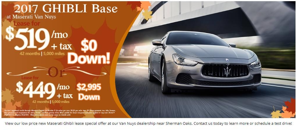 leaserank - lease offers for 2017 ghibli from 91203 us